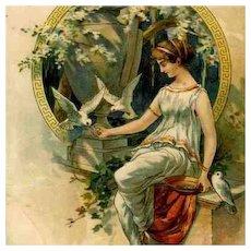 Art Nouveau German Lithographic Postcard 'Girl Feeding Doves' 1900.