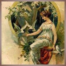 Art Nouveau German Lithographic Postcard Girl Feeding Doves 1900.