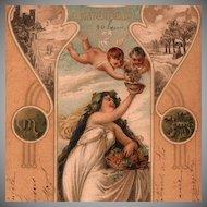 French Art Nouveau Zodiac  'Octobre' Autumn 'Cupids' Postcard 1901.