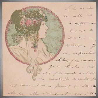Alphonse Mucha French Postcard Art Nouveau era c1900
