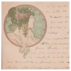 Mucha French Postcard Art Nouveau era c1900