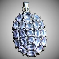 Large Sterling Silver Amethyst Convex Pendant.