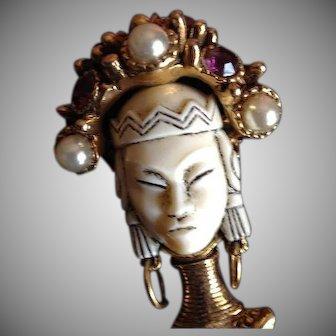 SALE:  Selro Multi Stone and Art Glass Enamel Gold Tone Asian Princess Pendant Brooch. c1950 Early Rare.