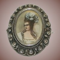 SALE: Italian Silver Grand Tour Madam de Pompadour Portrait Pendant Brooch