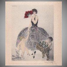Louis Icart Etched French Menu..Signed Art Deco era 1934