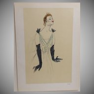 French Lithograph 'Yvette Guilbert' by Toulouse-Lautrec 1930.