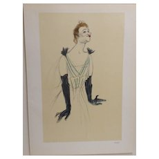 Toulouse-Lautrec French Lithograph Yvette Guilbert 1930.