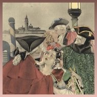 French Signed Brunelleschi 'Venice Masquerade' Color Engraving Mid Century 1950