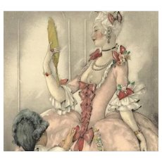 French Brunelleschi 'Regency Couple with Mirror' Slightly Naughty Color Engraving Mid Century 1950.