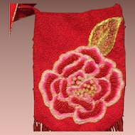 Hand Beaded 'Rose' Evening Bag/Tote with Long Fringe and Embroidery.