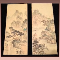 Two Original Oriental Hand Painted Silk Panels..Reversible,Signed and Stamped.  c1910