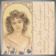 SALE: French Postcard 'Beauty with Lupins' c1900.