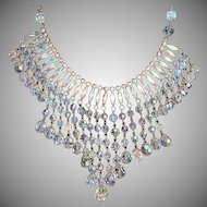 Aurora Borealis Crystal and Rhinestone Festoon Waterfall Necklace.