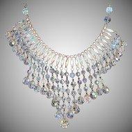 SALE: A B Crystal and Rhinestone Festoon Waterfall Bib Necklace.