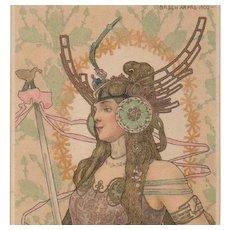 Bohemian Art Nouveau Signed 'Brunhilde' Rare Postcard by Arpad Basch 1903