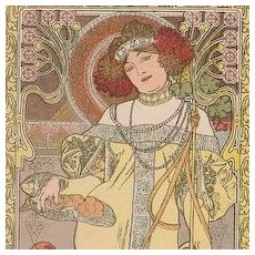 Rare Mucha French Postcard 'Autumn' 1903.