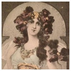 Original Art Nouveau Hand Gilded and Colored Signed 'Poppies' Postcard 1903.