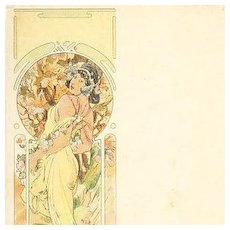 Mucha Art Nouveau French 'Ete' Postcard 1900.