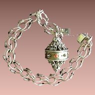 SALE: Sterling Silver Charm Bracelet with Keeper Etruscan Revival Style.