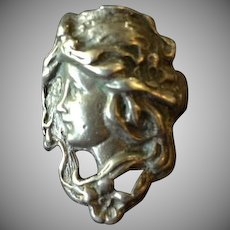 Goddess Hand Crafted Art Nouveau Style Figural Lady Face Ring.