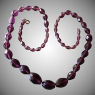 SALE: Czech Amethyst Graduated Faceted Bead Necklace.