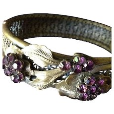 SALE: Victorian Filigree Brass and Deep Amethyst Glass Flower and Leaf Design Bangle Bracelet.