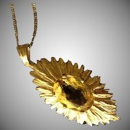 SALE: Hallmarked Sunburst 9K Yellow Gold and Natural Golden Topaz Pendant..November Birthstone