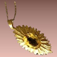 SALE: Hallmarked Sunburst 9K Yellow Gold and Natural Golden Topaz Pendant..November Birthstone