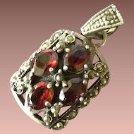 SALE: Victorian Revival Silver Marcasite and Garnet Pendant