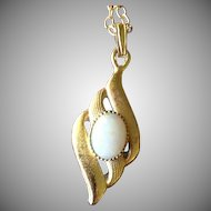 Natural Australian Opal and Gold Plate Pendant.