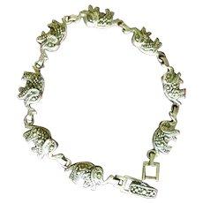 Indian Made Elephant Asian Silver Marcasite Link Bracelet c1970
