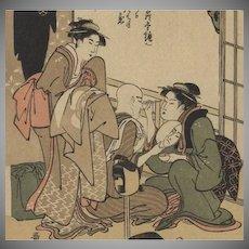 Signed Japanese Lithograph by Utamaro 1909. Meiji era. Antique.