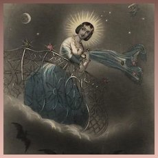 Original Color Engraving 'The Evening Star' 1849 for Godey's Lady's Book.. Victorian era