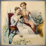 Antique Hand Colored French Engraving 'Bleuettes' 1844