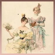 Art Nouveau French Viennoise Two Girls Reading Postcard c1900.