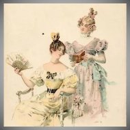 SALE: Viennoise Two Girls Reading Postcard c1900.