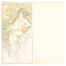 Mucha 'Autumn Panel' Original Signed French Postcard 1896.