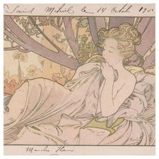 Alphonse Mucha Signed Original French Postcard 'Dusk' 1902. Rare.