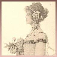 Art Nouveau German Artist Signed Lithographic Postcard 1897