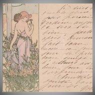 Alphonse Mucha 'L'Oeillet' (Carnation) Original Signed French Postcard 1905.
