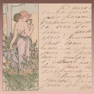 Alphonse Mucha 'L'Oeillet' (Carnation) Original Signed French Postcard 1905.