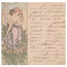 Mucha 'L'Oeillet' (Carnation) Original Signed French Postcard 1905.
