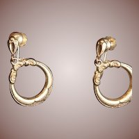SALE: Victorian 9Karat Gold Etched Dangle Hoop Earrings