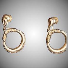 SALE: Victorian 9Karat Gold Etched Dangle Hoop Earrings