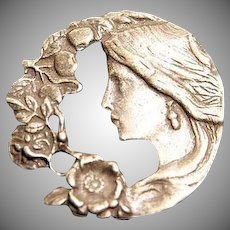 Circular Nouveau Revival Pewter 'Lady Face' Brooch c1970