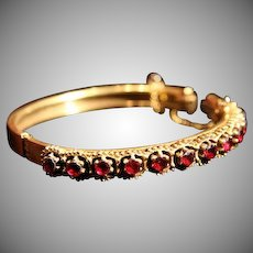 SALE: Rhodolite Garnet Etruscan Revival Gold-Wash Hinged Bangle Bracelet. WOW