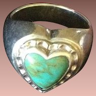 Sterling and Turquoise Heart Shape Ring c1970.