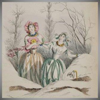 Grandville Primevere Perce-Neige Engraving from Les Fleurs Animees 1852..Original Rare Belgian Edition