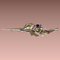 Art Nouveau Sterling Silver Garnet Organic Leaf Brooch Pin c1905