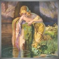 French Artist Signed Art Deco  'Delila at a Pool' Postcard.